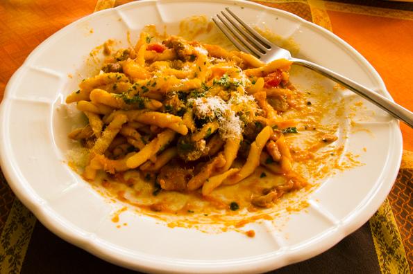 Strozzapreti alla norcina in salsa roseAlberobello, Puglia, Italy