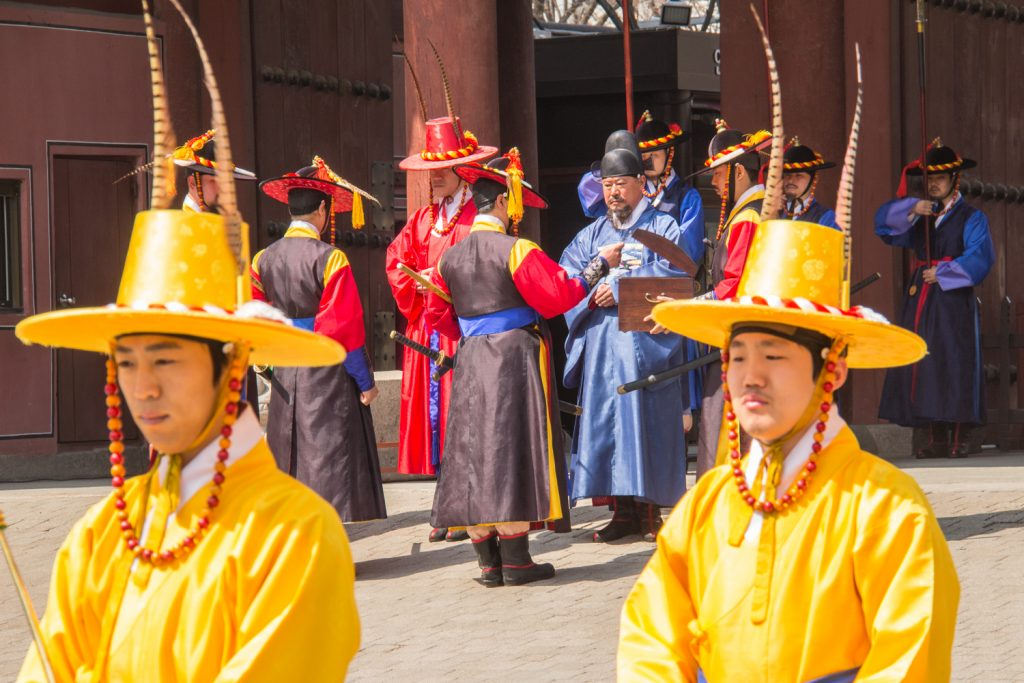 Changing of the guards ceremony at Deoksu Palace in Seoul, South Korea