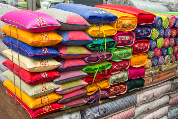Traditonal bedding in Gwangjang market in Seoul, South Korea